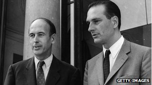 Valery Giscard d'Estaing (left) and Jacques Chirac