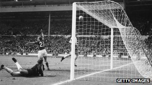 England are convinced the ball has crossed the goal-line in the World Cup final of 1966