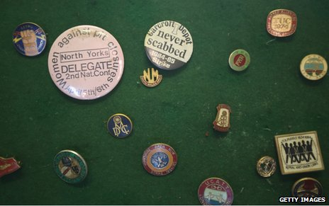 Miners' badges from the strike days