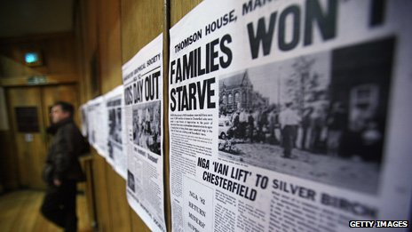 Newspaper clippings from the miners' strike days, about families starving