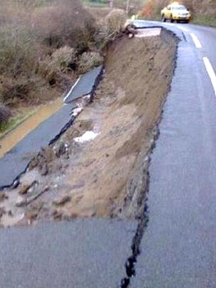Landslip on the A548 between Llanrwst and Llangernyw in Conwy county