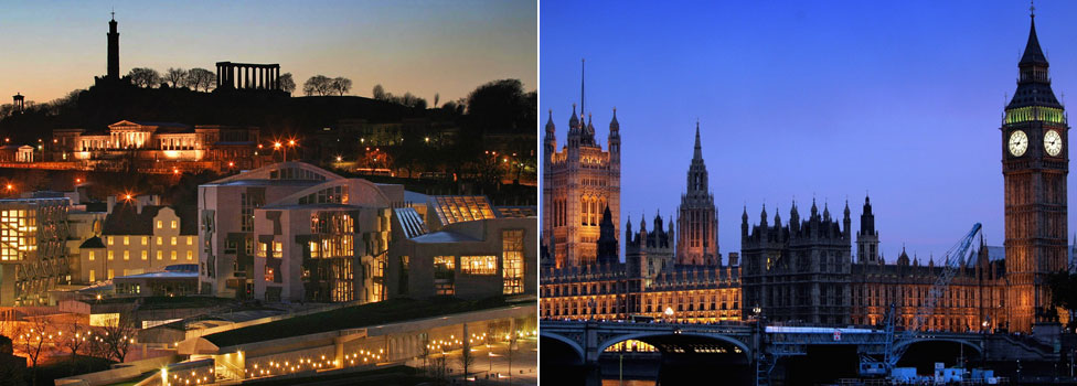 Holyrood and Westminster at night