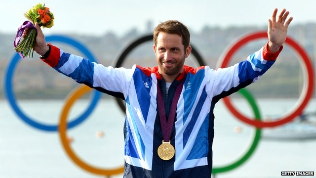 Ben Ainslie wearing his gold medal