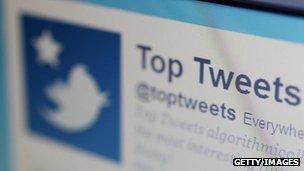 Twitter on computer screen