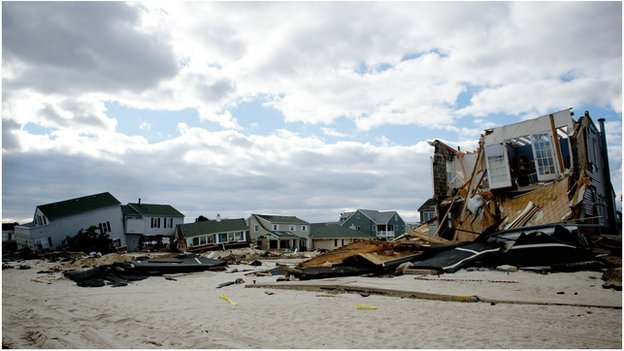 Wrecked homes on Ocean Avenue, Ortley Beach