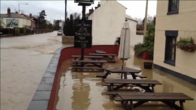 Plough pub flooded in St Asaph
