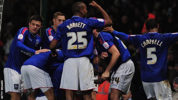 Ipswich Town celebrate N'Daw goal