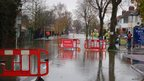 Flooding on the Abingdon Road, Oxford, from the junction with Lincoln Road