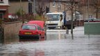 Flooding on Wytham Road, Oxford, across Abingdon Road to Weirs Lane
