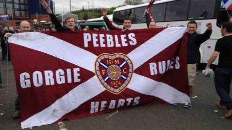 Jamie Williamson and friends holding Hearts FC banner