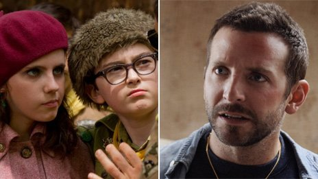 Kara Hayward and Jared Gilman in Moonrise Kingdom and Bradley Cooper in Silver Linings Playbook