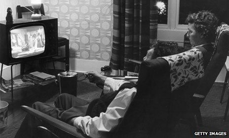 Couple watching television in 1967