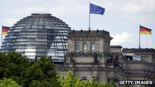 A view of the dome of the Bundestag 