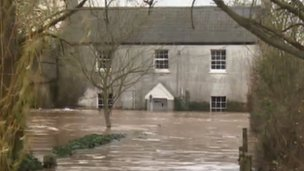 Flooded home on the moors