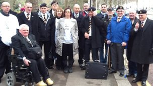 Mrs Lee, some friends and family and people from Mr Lee's old regiment took part in the march
