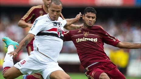 Sao Paulo (white) play Fluminense in a Brazilian championship football match in November