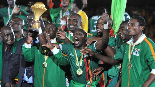 Zambia celebrate winning the 2012 Africa Cup of Nations