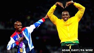 Mo Farrah and Usain Bolt