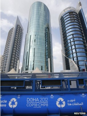 A general view shows the logo of the 18th UN Convention on Climate Change in Doha