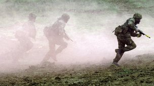 Soldiers training on Salisbury Plain