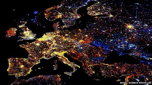 Light pollution over Europe at night