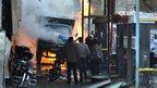 A lorry on fire in Jaramana (28 November 2012)