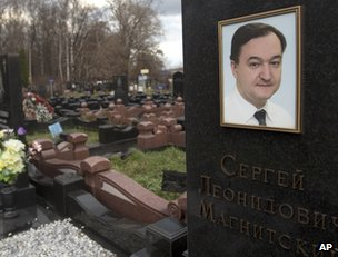The grave of Russian anti-fraud investigator Sergei Magnitsky in Moscow (image from 16 November 2012)