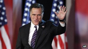 Mitt Romney takes the stage as he prepares to concede the election (6 Nov)