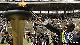 Zimbabwean President at independence day celebration