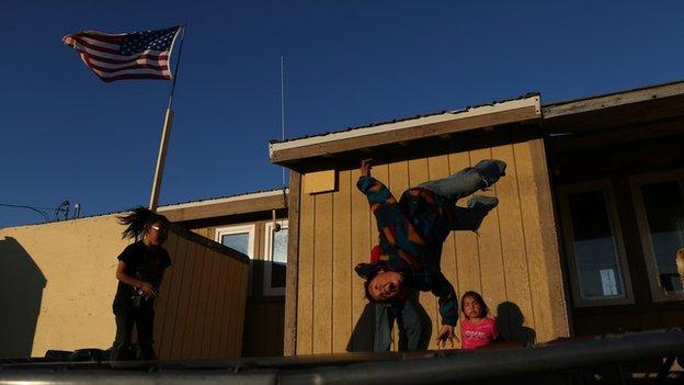 Point Hope children trampolining