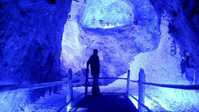 A man in Nemocon Salt Mine