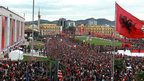 People celebrate 100 years of Albanian independence in Skanderbeg Square, Tirana (28 Nov 12)