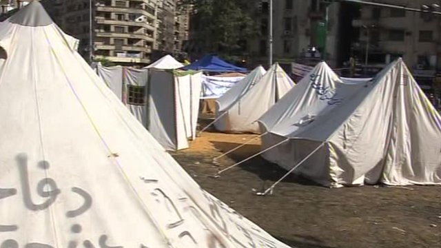Protesters camping in Tahrir Square
