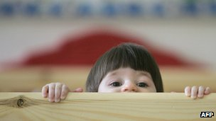 A little girl at a Russian orphanage for children with HIV (file image)
