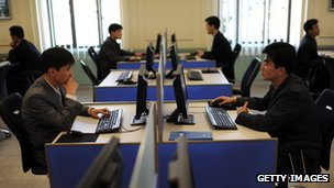 North Korean students work on their computers at Kim Il-Sung University in Pyongyang