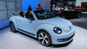 Volkswagen Beetle convertible on display at the LA motor show