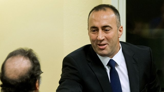 Former Kosovan Prime Minister Ramush Haradinaj during his retrial in the Hague