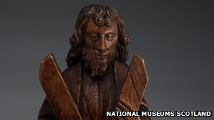 Carved oak figure is of St Andrew and his cross, National Museums Scotland