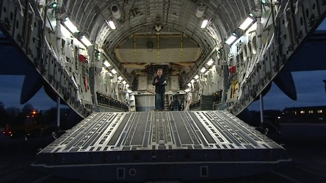 Inside C-17 jet