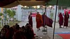 Protesting Buddhist monks occupy the office entrance to the Chinese mine company Wan Bao Co. Ltd. in Letpadaung mine, Monywa