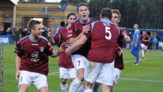 Hastings celebrate their equaliser against Bishops Stortford in the first round
