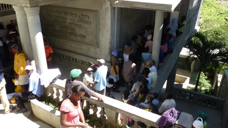 Patients queue at the clinic in Haiti