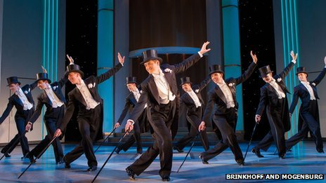 Tom Chambers (centre) and the male ensemble of Top Hat