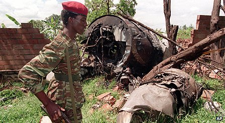 Wreck of plane which had been carrying the presidents of Rwanda and Burundi