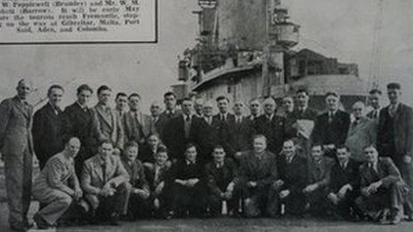 The 1946 team on HMS Indomitable