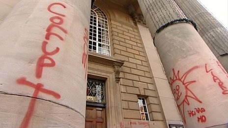 Graffiti on Peterborough Town Hall