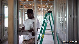 Worker at the construction site of a new home in Florida