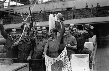 1945 return to Britain from the Far East with trophies of WWII