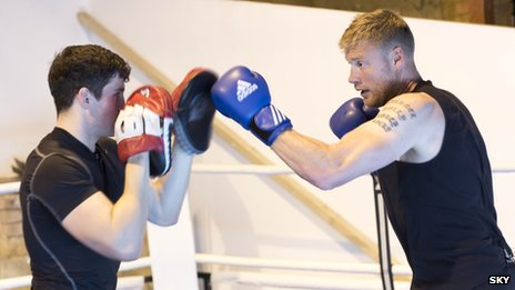 Freddie Flintoff sparring