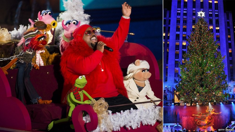 Singer Cee Lo Green performs with The Muppets at the annual Rockefeller Centre Christmas tree lighting ceremony in New York.